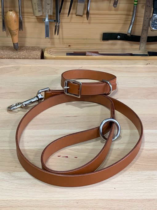 matching dog collar and lead in tan bridle leather