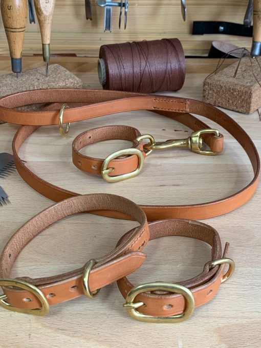 Set of 3 English Bridle leather dog collars and matching lead