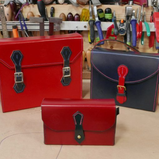 handmade box bags in red english bridle leather