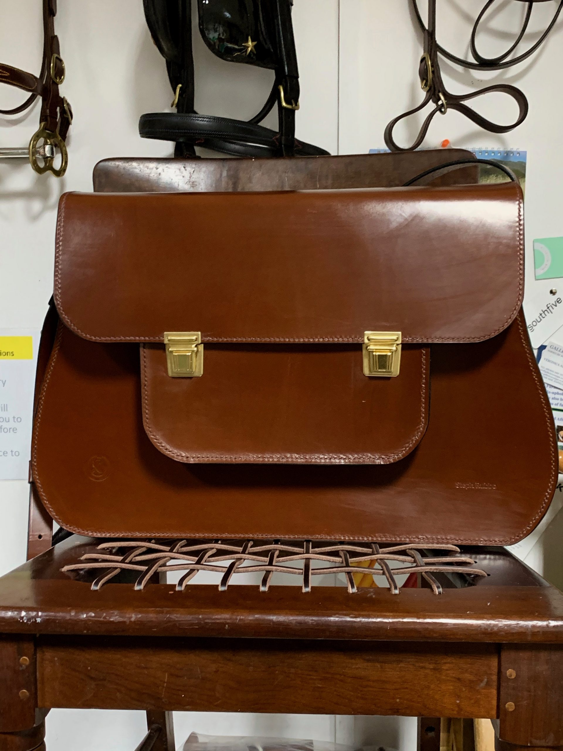 Large Rachel Satchel in Sedgwick's Conker English Bridle leather by Steph Rubbo Saddlery